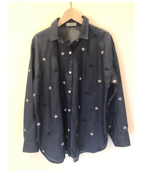 星柄コットンシャツ