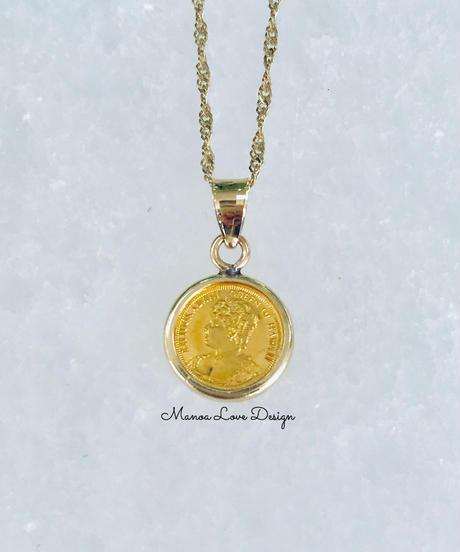 24K 1点物 ハワイ最後の女王 リリウオカラニ女王 ハワイコイン ペンダントトップ ($1800)