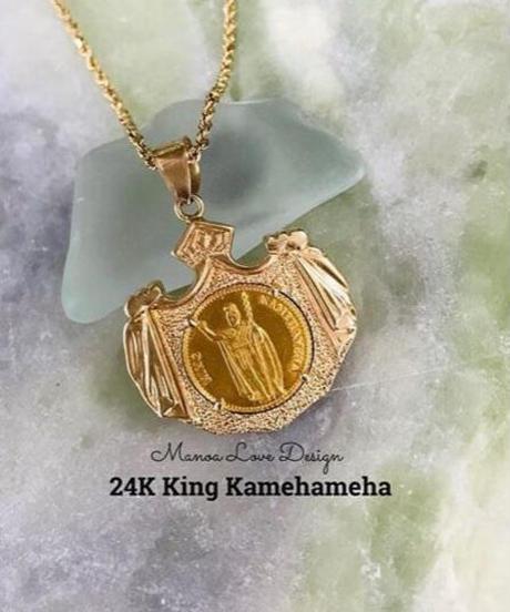 24K 幻の1点物 キングカメハメハコイン  ハワイ王国紋章 ハワイコイン ペンダントトップ ($3800)