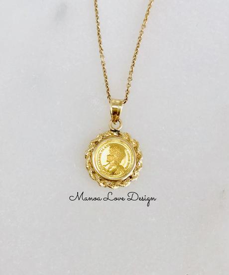 24K 1点物 ハワイ最後の女王 リリウオカラニ女王 ハワイコイン ペンダントトップ ($2000)