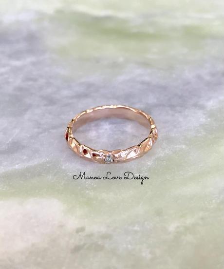 14K  プルメリア ダイヤモンド&マイレリーフリング($545)