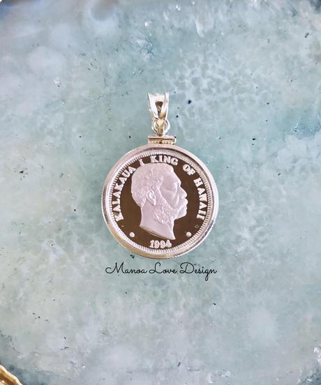 1994年 シルバー.999純銀 1点物 カラカウア王 ハワイコインペンダントトップ($298)