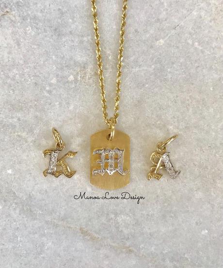 14k  スモールドッグタグダイヤモンド(ユニセックス) ($850)