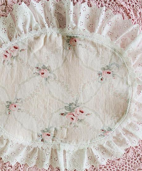 【Cafe Mat】 petit bouquet fabric Cafe mat(プチブーケファブリックカフェマット)  オーバル型