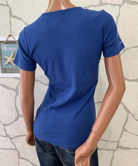 MAUNALOA  マイレレイVネックTシャツ SHYJX-0314 【BLUE】