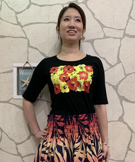ALOALO  5分袖Tシャツ CM008【BLACK 】