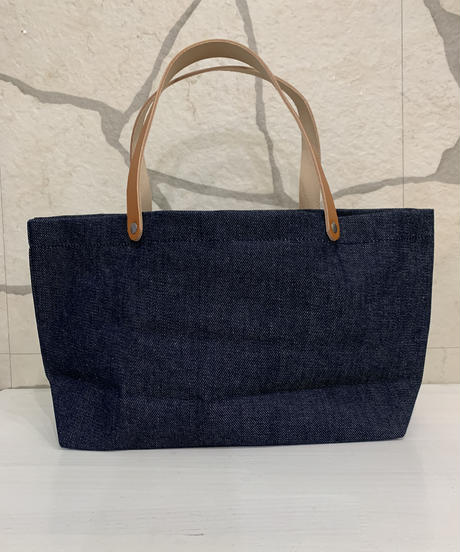 DEAN &  DELUCA LEATHER HANDLE  SMALLTOTE  【DENIM】