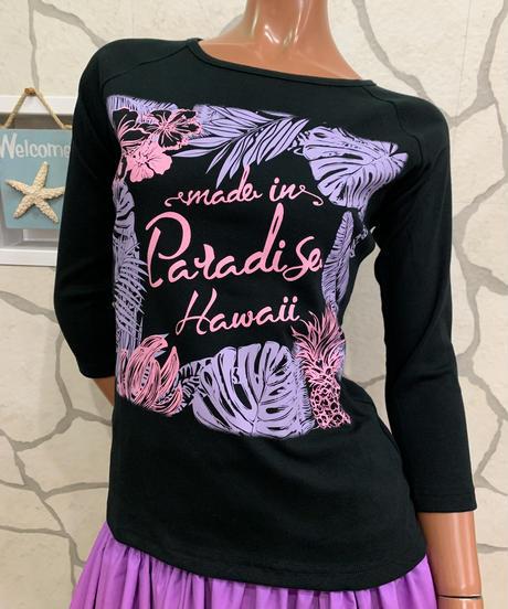 MADE IN PARADISE HAWAII  7分袖Tシャツ CM004【BLACK】