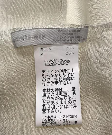 USED【HERMES】カシミヤシルクストール ホワイト×ブルー×パープル