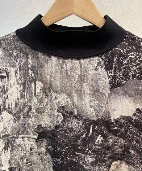 KOREA select 風景画プルオーバーブラウス ブラック