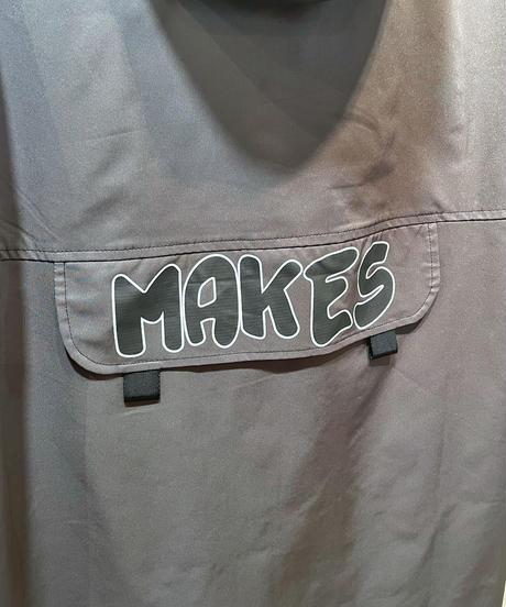 「MAKES」ロゴコットンフードロングコート  グレー