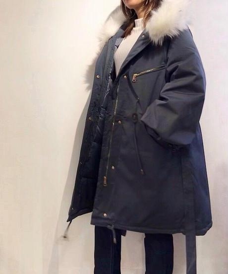 中綿フード付きブルゾンコート ブルーグレー