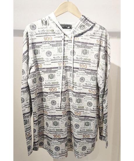 USA ドルプリントフリースパーカーロングスリーブTシャツ グレー