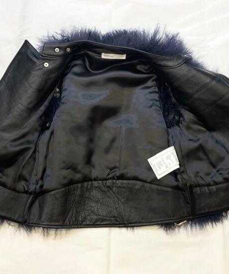 USED【sacai luck】ファーライダースジャケット ブラック