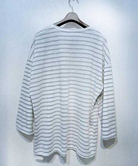 スラブコットンワイドスリーブボーダーTシャツ ライトグレー