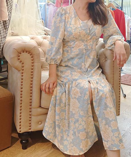 KOREAセレクト 花柄ロングワンピース サックス×ベージュ