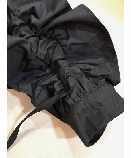 袖シャーリングオーバーシャツ ブラック