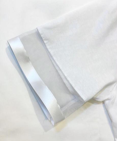 KOREA select 袖口チュールリボンTシャツ ホワイト