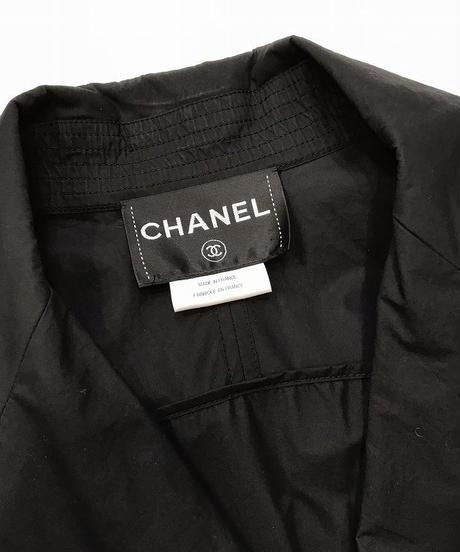 USED【CHANEL】コットンコーティングトレンチコート 34 ブラック