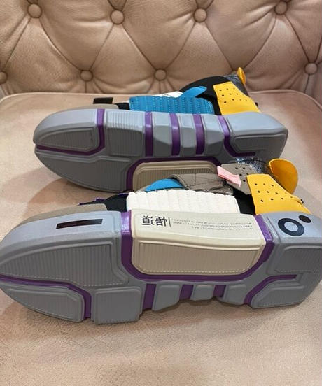 KOREA select 軽量メッシュスニーカー パープル×イエロー 25㎝~25.5㎝