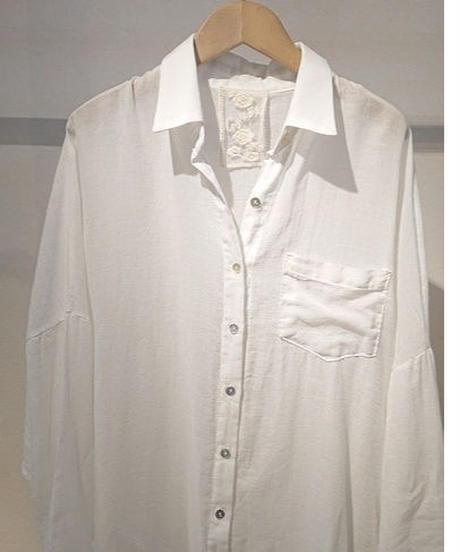コットンガーゼロングシャツ ホワイト