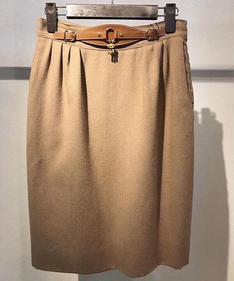 Vintage【HERMES】キャメル 膝丈スカート