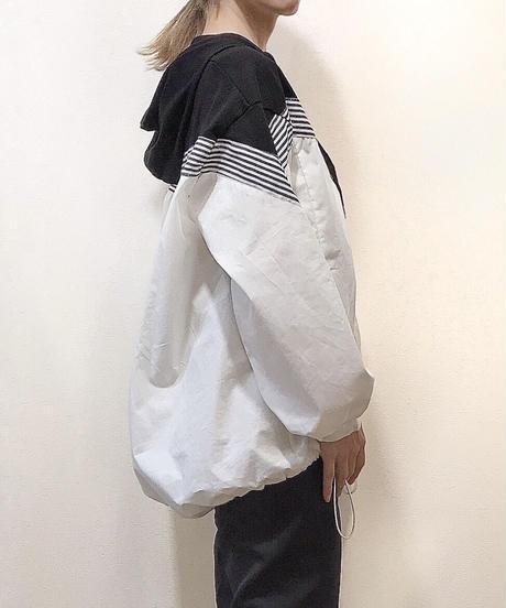 フード付き切替プルオーバーシャツ  ブラック