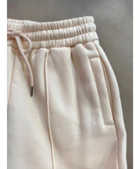 裾切込み 裏起毛 スウェットパンツ ホワイト