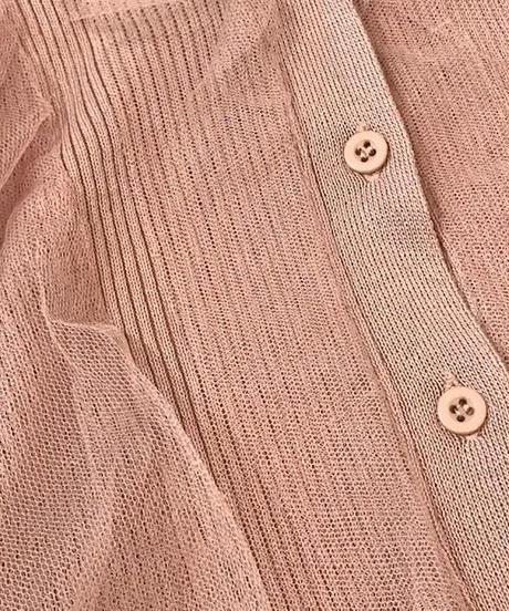 チュール付ノースリーブリブニット ピンク
