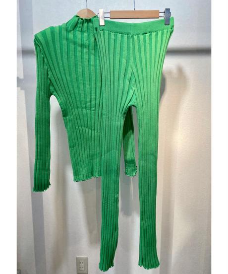 コットンリブ肩パッド入りセットアップニット グリーン