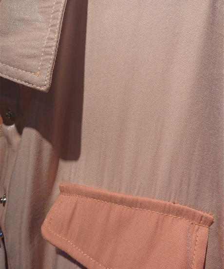 イタリア ラメレーヨン トレンチ風シャツワンピースコート マンダリンオレンジ