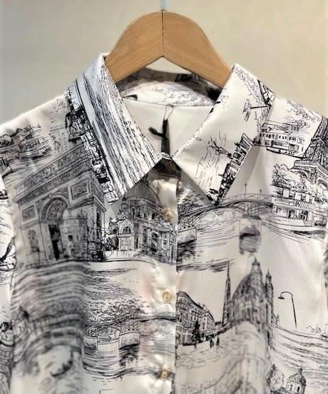ITALY select 風景画サテンブラウス ホワイト
