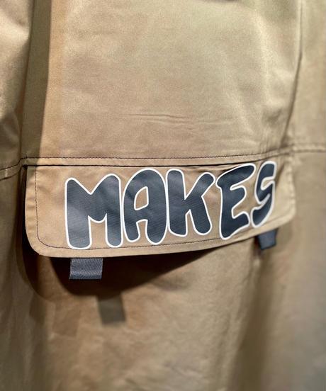 「MAKES」ロゴコットンフードロングコート カーキ