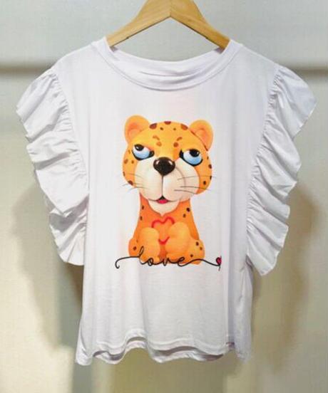 ITALY select とぼけたトラプリントフリルTシャツ ホワイト