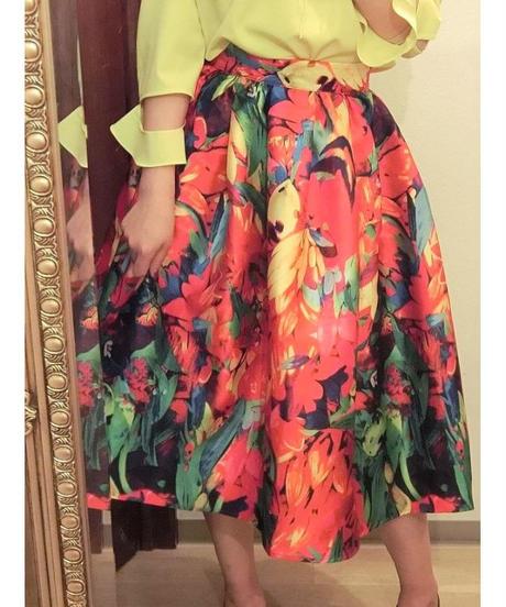 花柄フレアスカート レッド