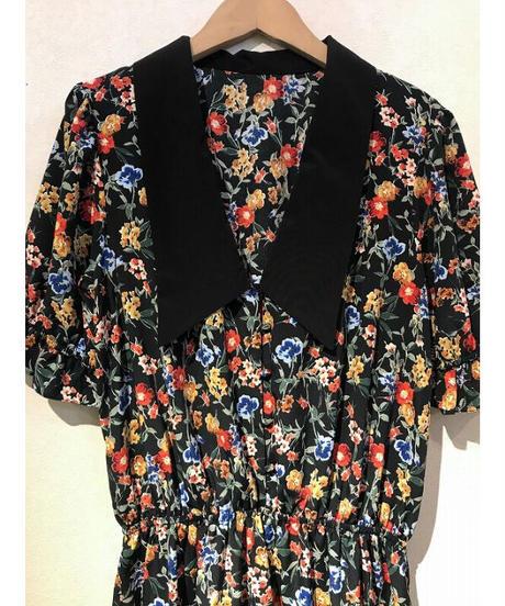 小花襟付半袖オールインワン  ブラック