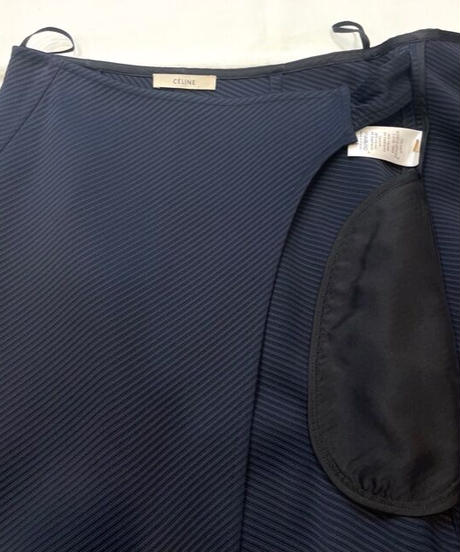 USED【CELINE】ラップスカート ネイビー