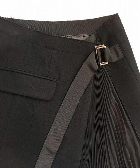 USED【sacai】メルトン×シフォンプリーツ ラップスカート ブラック
