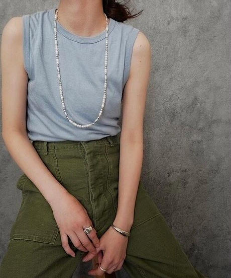fresh water pearl×silver mix long necklace (MA-N-11)
