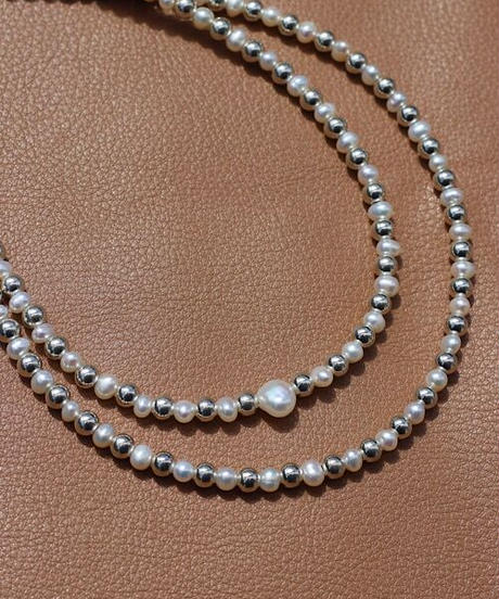 baby pearl×silver mix necklace(MA-N-14)