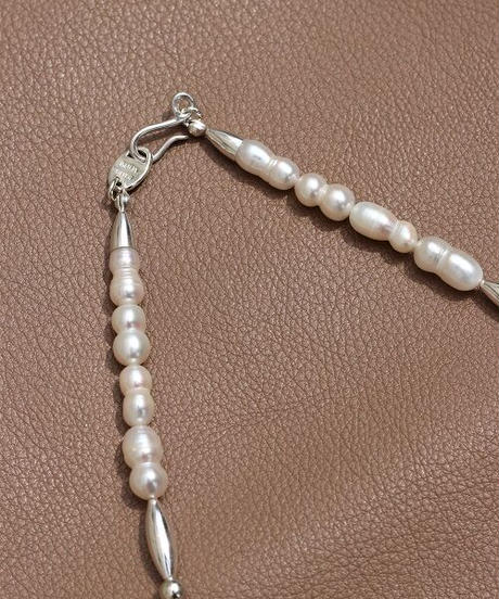 fresh water pearl×silver short necklace (MA-N-08)
