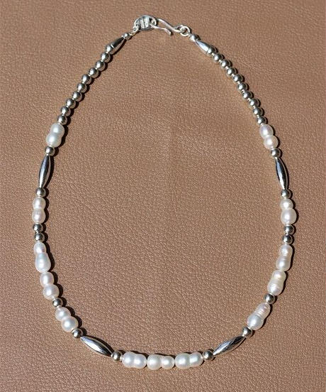 fresh water pearl×silver mix short necklace (MA-N-12)