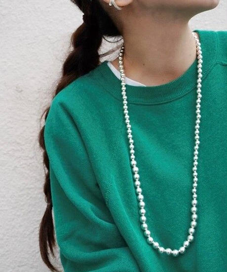 8㎜×10㎜ silver beads necklace (MA-N-05)