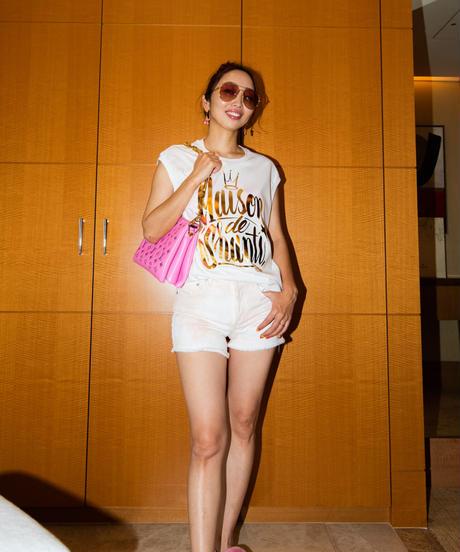 フレンチスリーブTシャツ(シグネチャー箔プリント/ホワイト・ピンク)