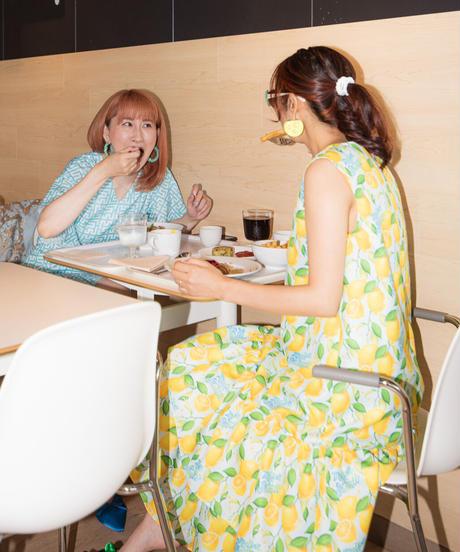Aライン2段フリル ロングワンピース(レモン)