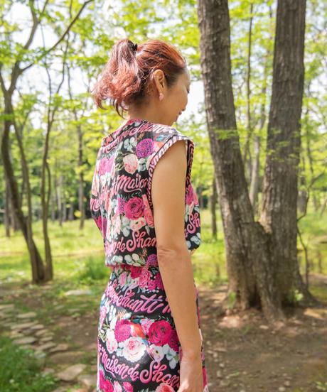 フレンチスリーブTシャツ(秘密の花園 ホワイト/ブラック)