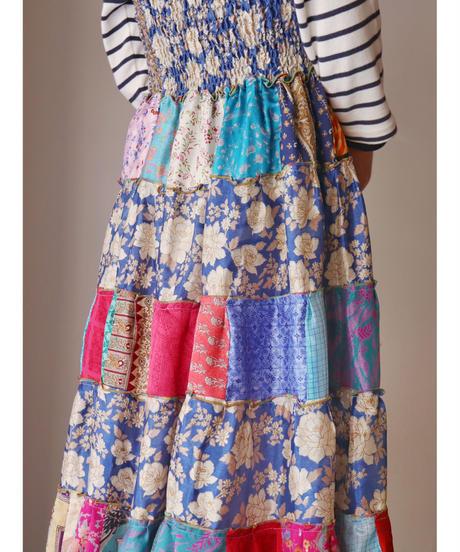 2-way patchwork design silk skirt