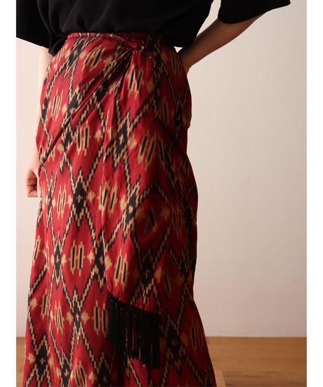 native pattern silk lap skirt