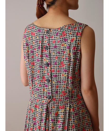 Check&flower pattern one piece