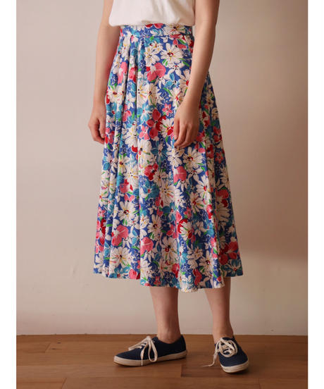 Flower printed cotton skirt